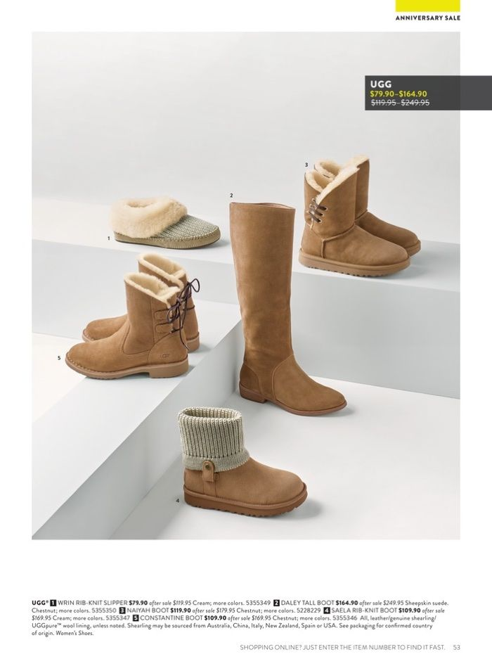 ee56d5d60613 1. UGG Wrin Rib-Knit Slipper  79.90 (on sale) 2. Daley Tall Boot  164.90  (on sale) 3. Naiyah Boot  119.90 (on sale) 4. Saela Rib-Knit Boot  109.90  (on sale) ...