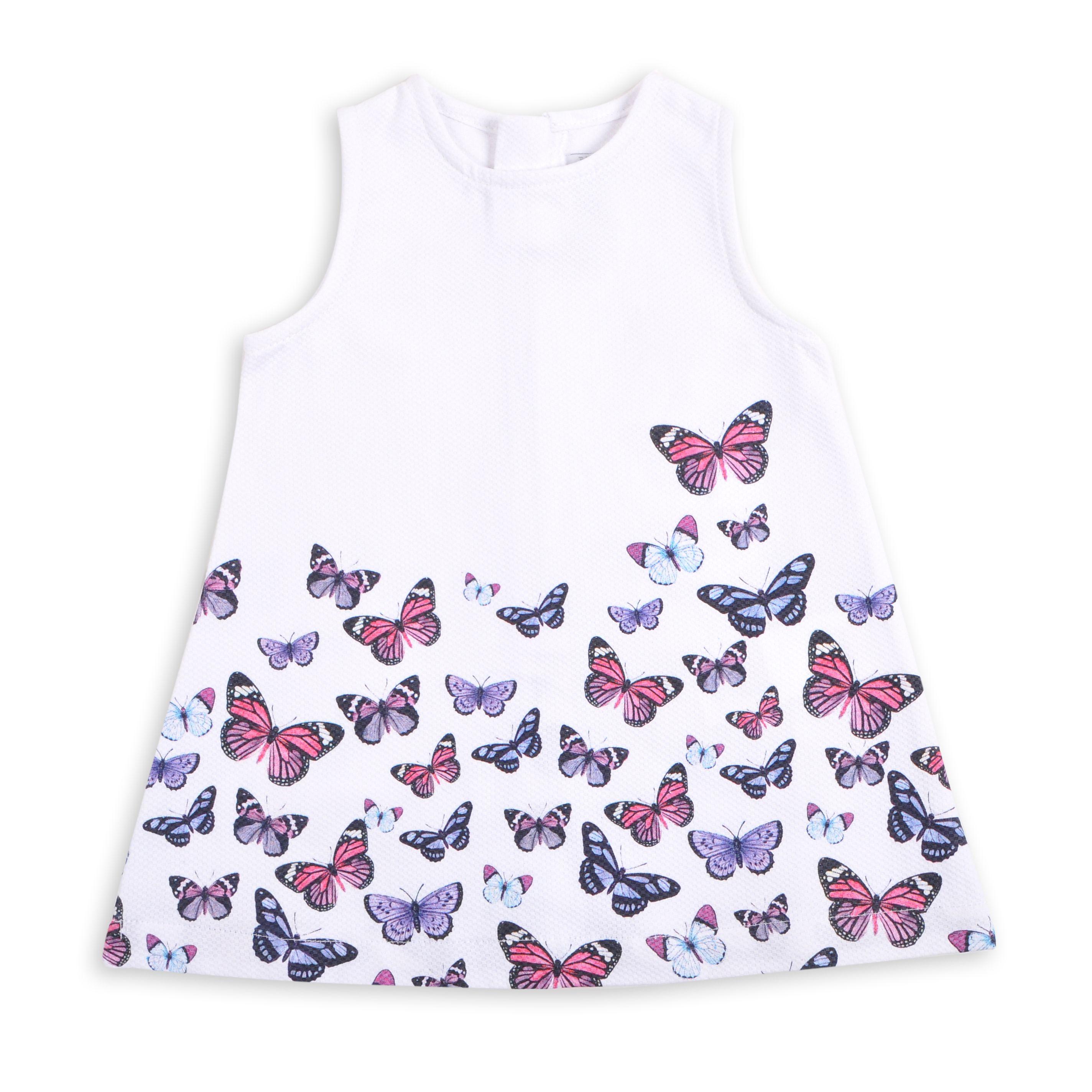 3a0737f7b864 Vestido EPK para bebé niña de color blanco con estampado de mariposas  multicolor.