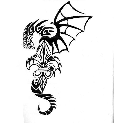 Fluer de lis dragon tattoo drawings section fleur de lis by kelsey kwolek artistic sub - Tattoo tribal fleur ...