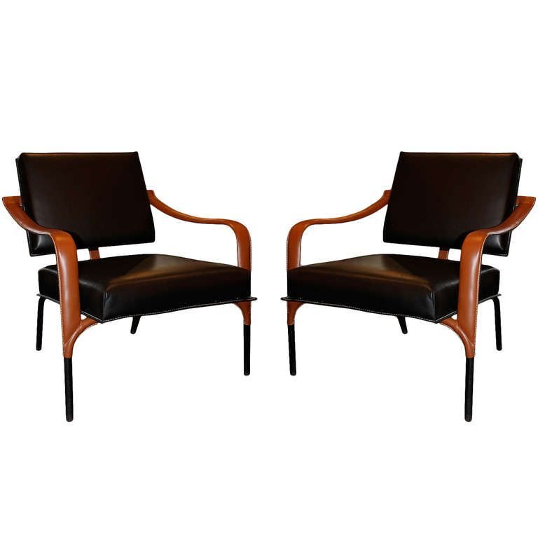 Jacques Adnet Pair Of Leather Lounge Chairs 1stdibs Com