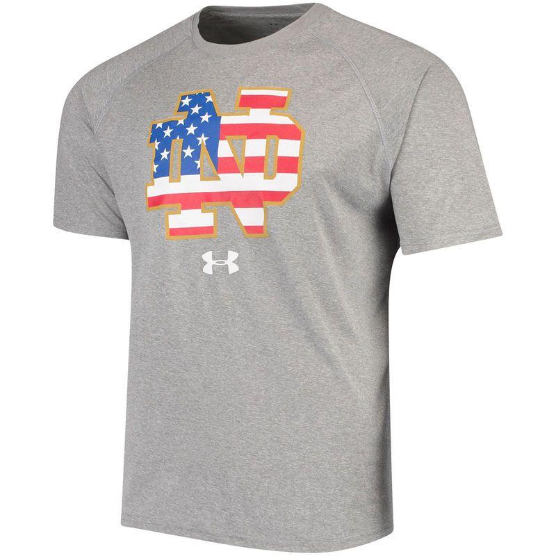 bd59b7f7b Men s Under Armour Gray Notre Dame Fighting Irish Americana School Logo  Tech Performance T-Shirt