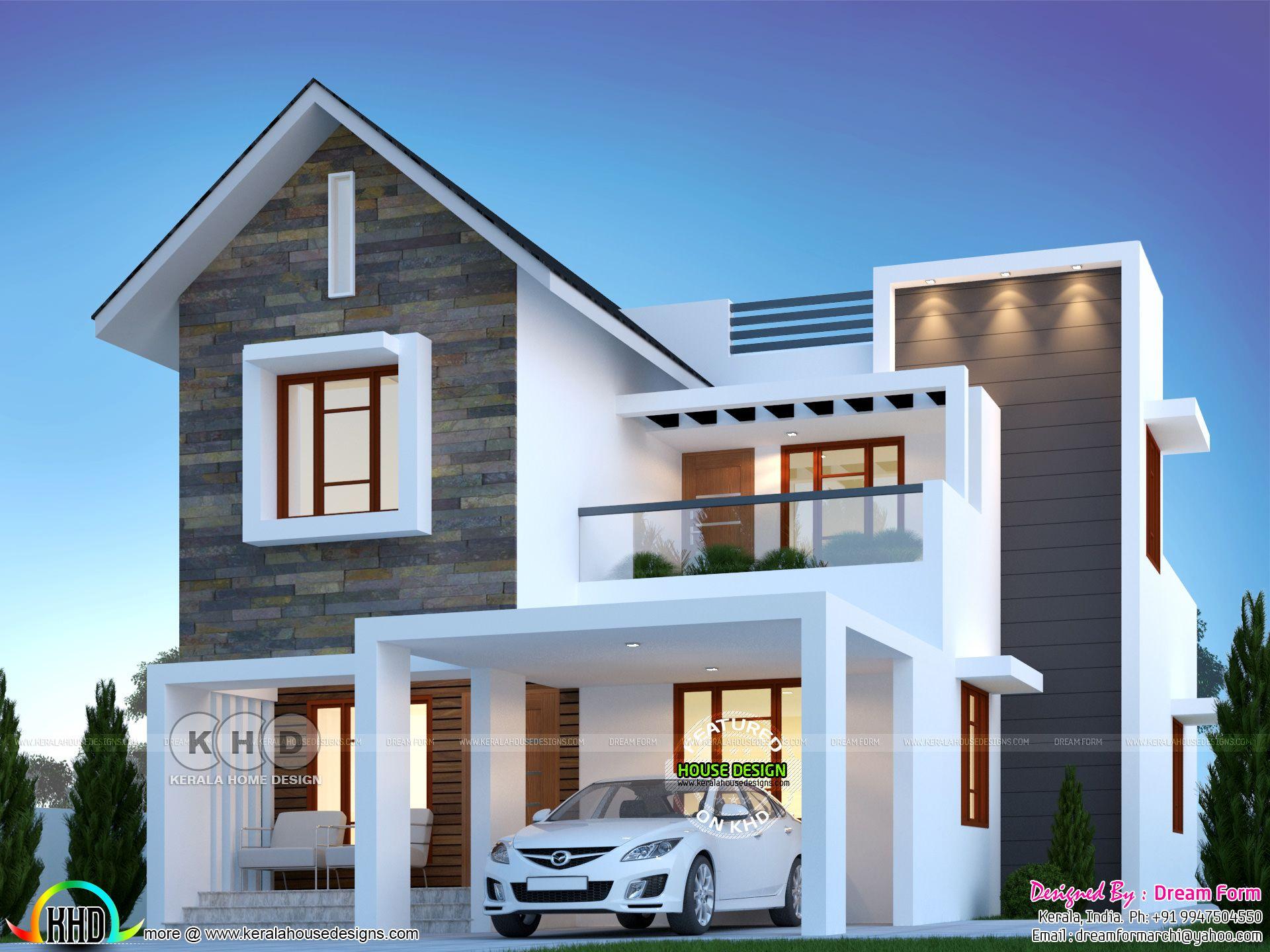 4 Bedroom 1900 Sq Ft Modern Home Design In 2020 House Outside Design Kerala House Design House Front Design