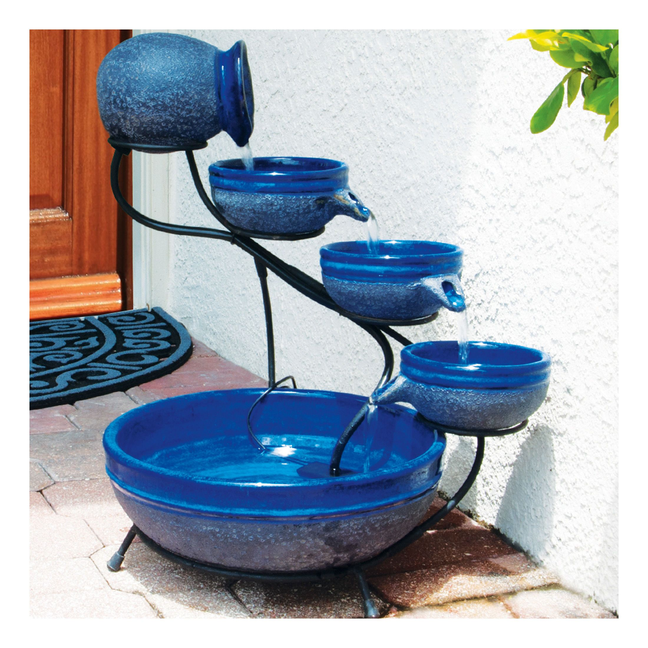 Solar Water Fountain Four Tier Cascading Fountain Gardeners Com Solar Water Fountain Solar Fountain Diy Solar Fountain