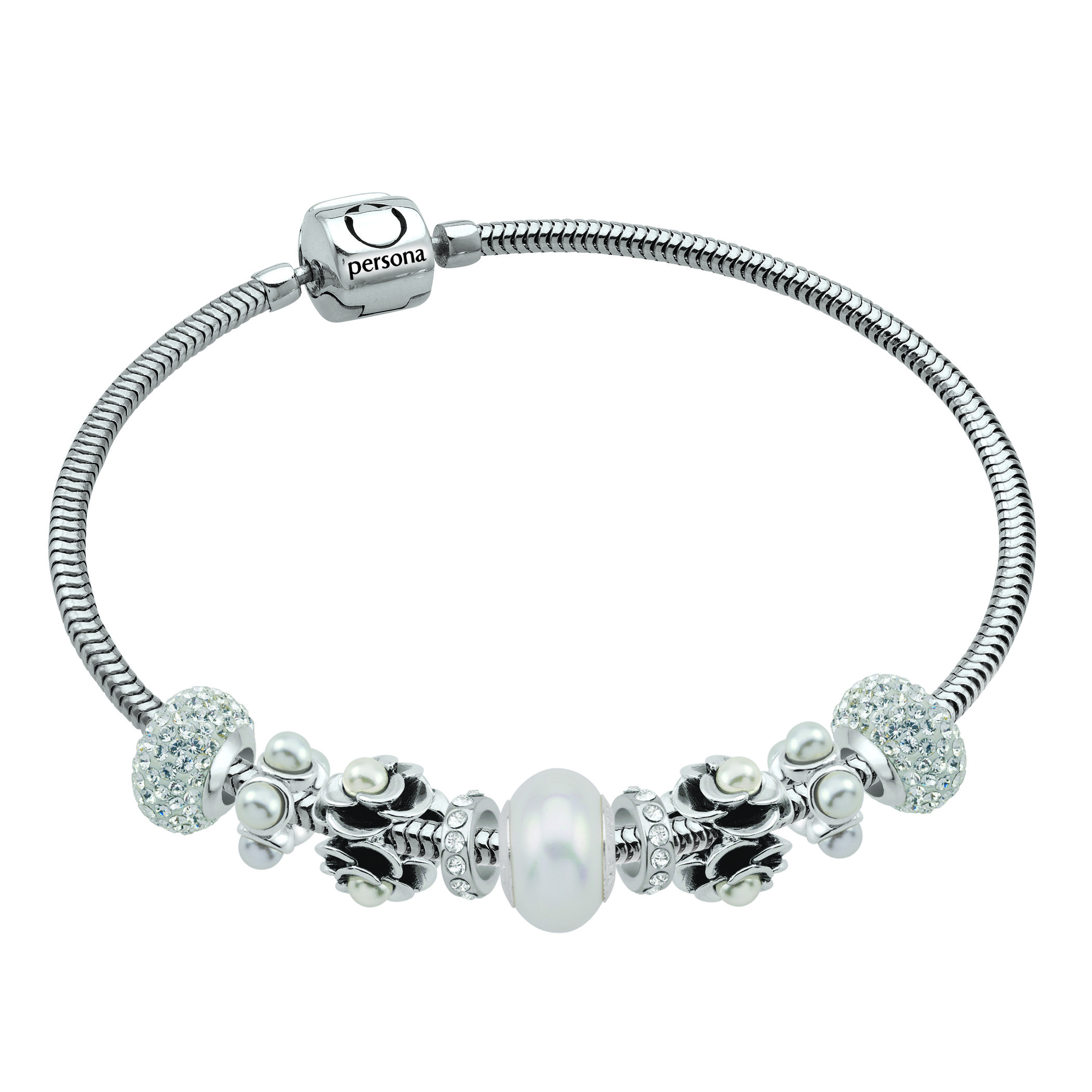 A Silver And Pearl Themed Persona Bracelet