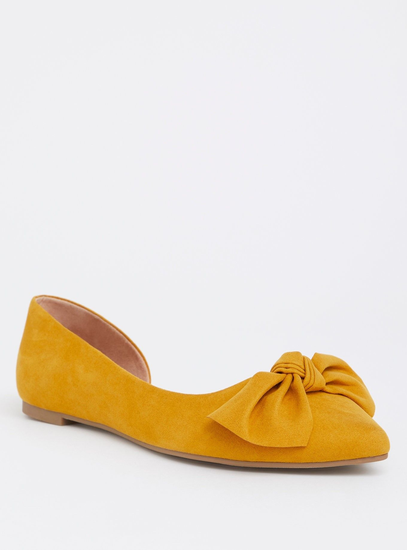 ed4ffb76d18 Mustard Faux Suede D Orsay Flat (Wide Width) - In soft faux leather