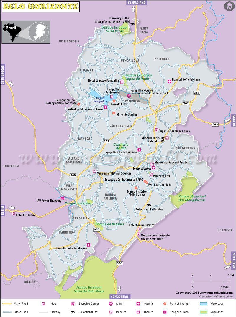 Belo Horizonte City Map maps Pinterest City maps Brazil