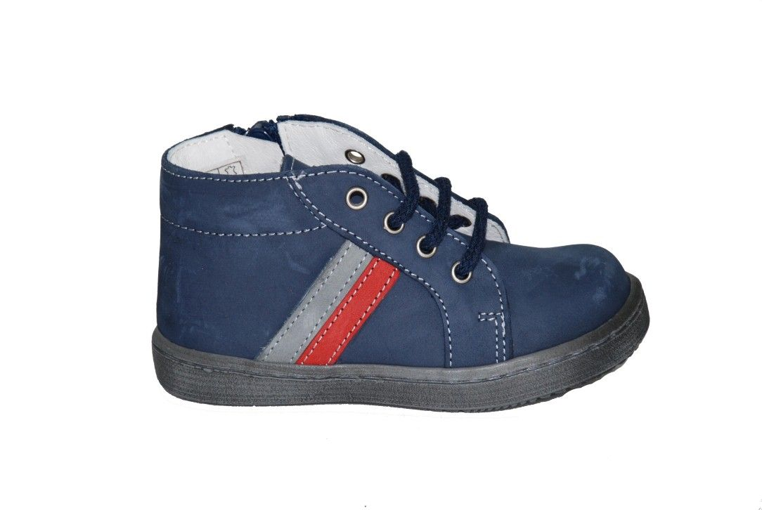8738e5e7e29 #toddler #shoes Μποτάκι Moύγερ για τα πρώτα βήματα, δερμάτινο/σαμουά, μπλε  με κορδόνια, φερμουάρ στο πλάι & ανατομικό πέλμα.