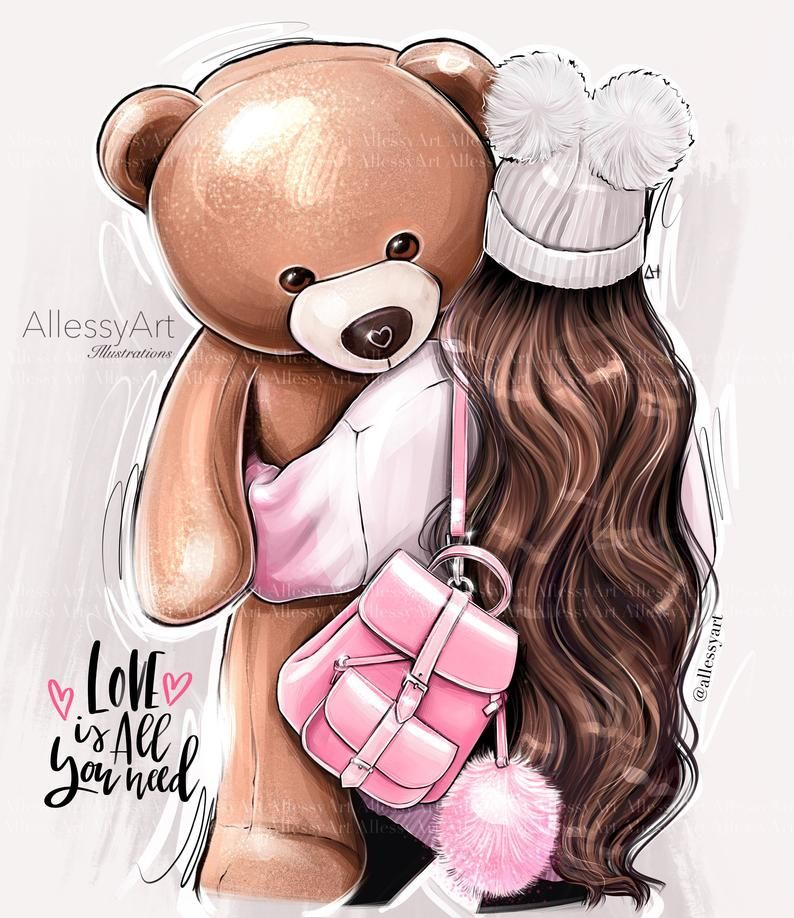 Instant download fashion illustration artwork teddy bear brunette girl