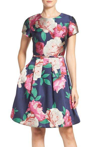 c8000cc98c ... on Eliza J Floral Print Fit   Flare Dress (Regular   Petite) at  Nordstrom.com. Vivacious floral patterns provide a breezy update to a short-sleeve  dress ...