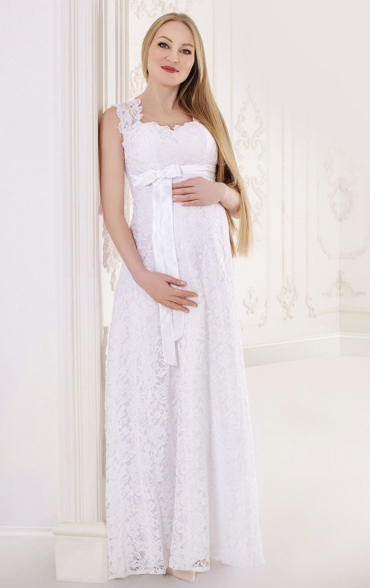 Long Lace Wedding Dress for mother-to-be a bride Fabric: lace ...