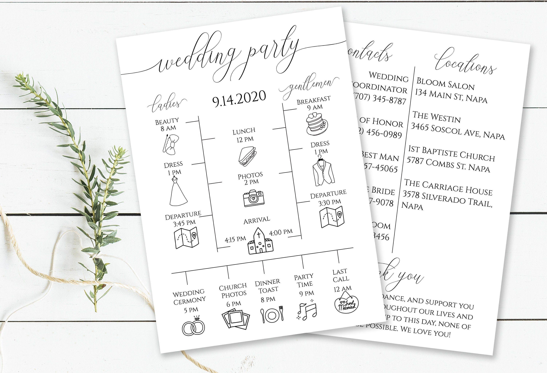 Wedding Party Timeline Printable Wedding Day Schedule