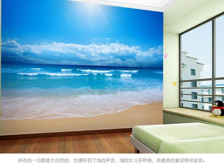 Cheap Salón TV telón de fondo, dormitorio del papel pintado 3d mar, cielo azul y…