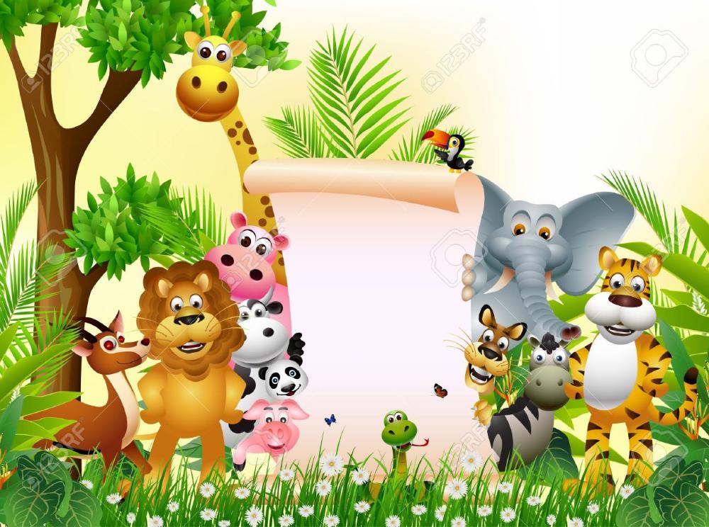 Stock Vector Cartoon jungle animals, Safari animals