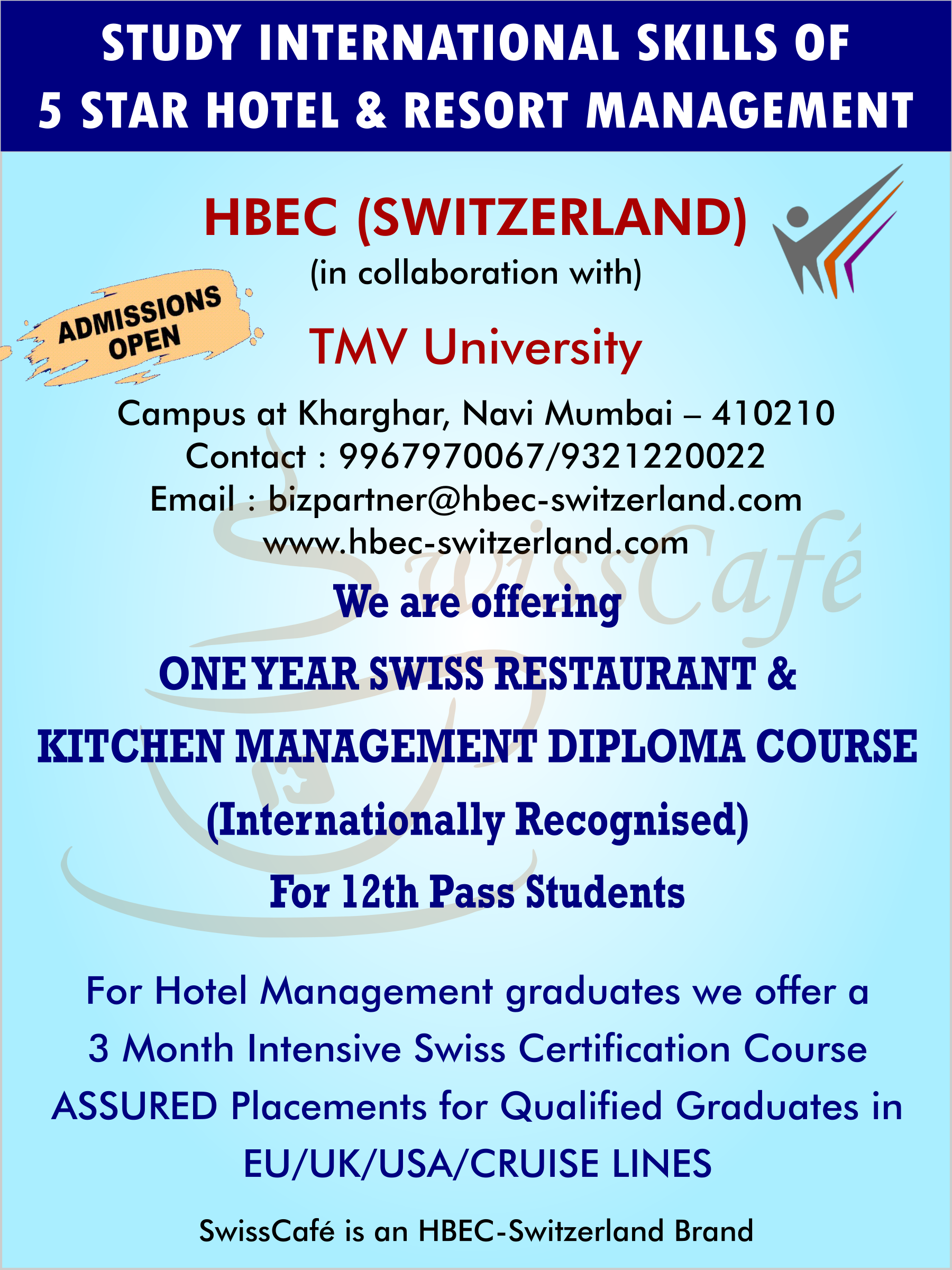 Admissions open for One Year Swiss Restaurant & Kitchen Management ...