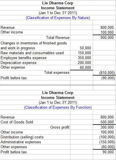 Basic Income Statement Example And Format  Profit And Loss