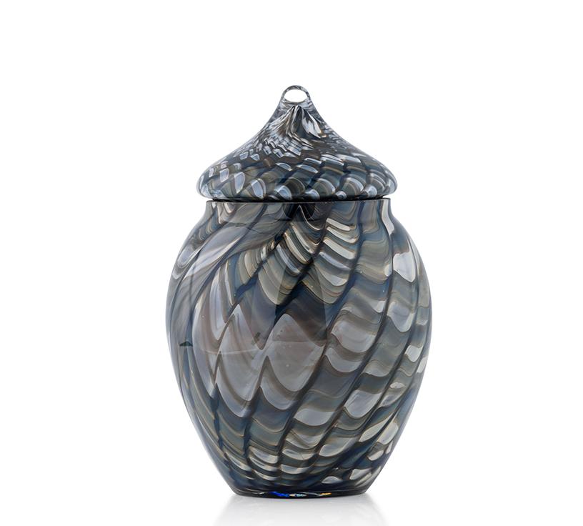 """Handmade Glass Keepsake or Pet Urn in """"Ocean Waves"""" Wave"""