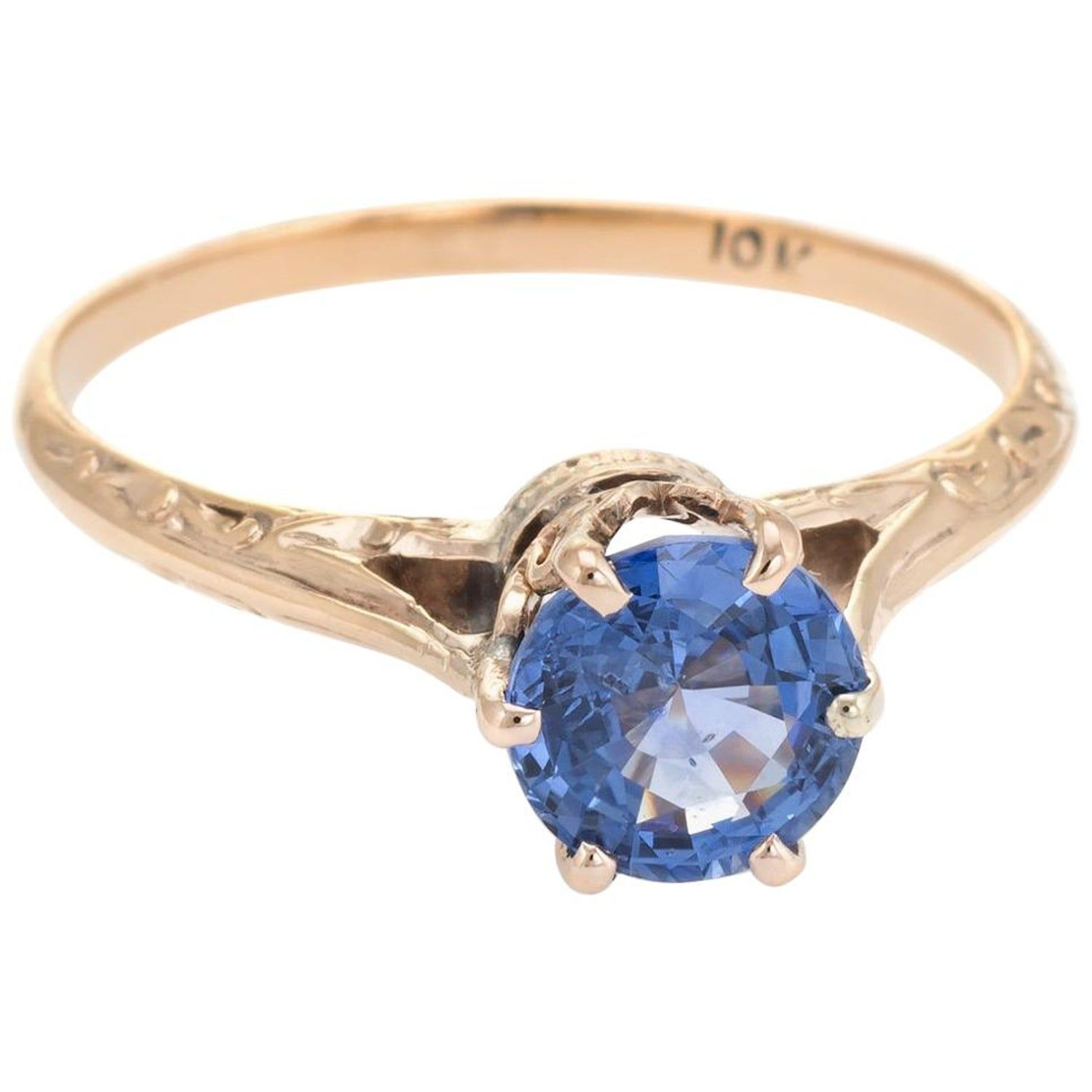 Vintage Natural Sapphire Engagement Ring Cornflower Blue 10 Karat Gold Engagement Rings Sapphire Traditional Engagement Rings Vintage Engagement Rings Sapphire