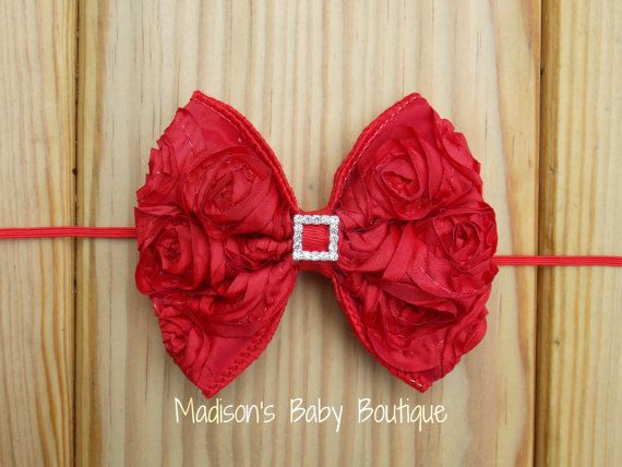 Red Rosette Bow  Valentine's Day Headband by MadisonBabyBoutique, $7.25