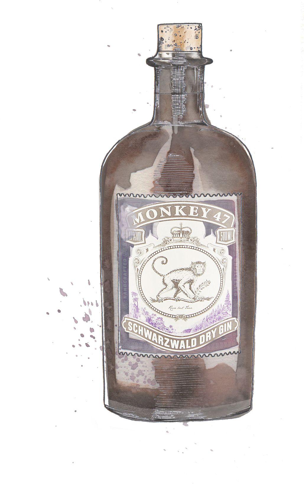 De Winton Paper Co Gin Illustration Monkey 47 Gin Eat Amp Drink Gin Bottles Watercolor