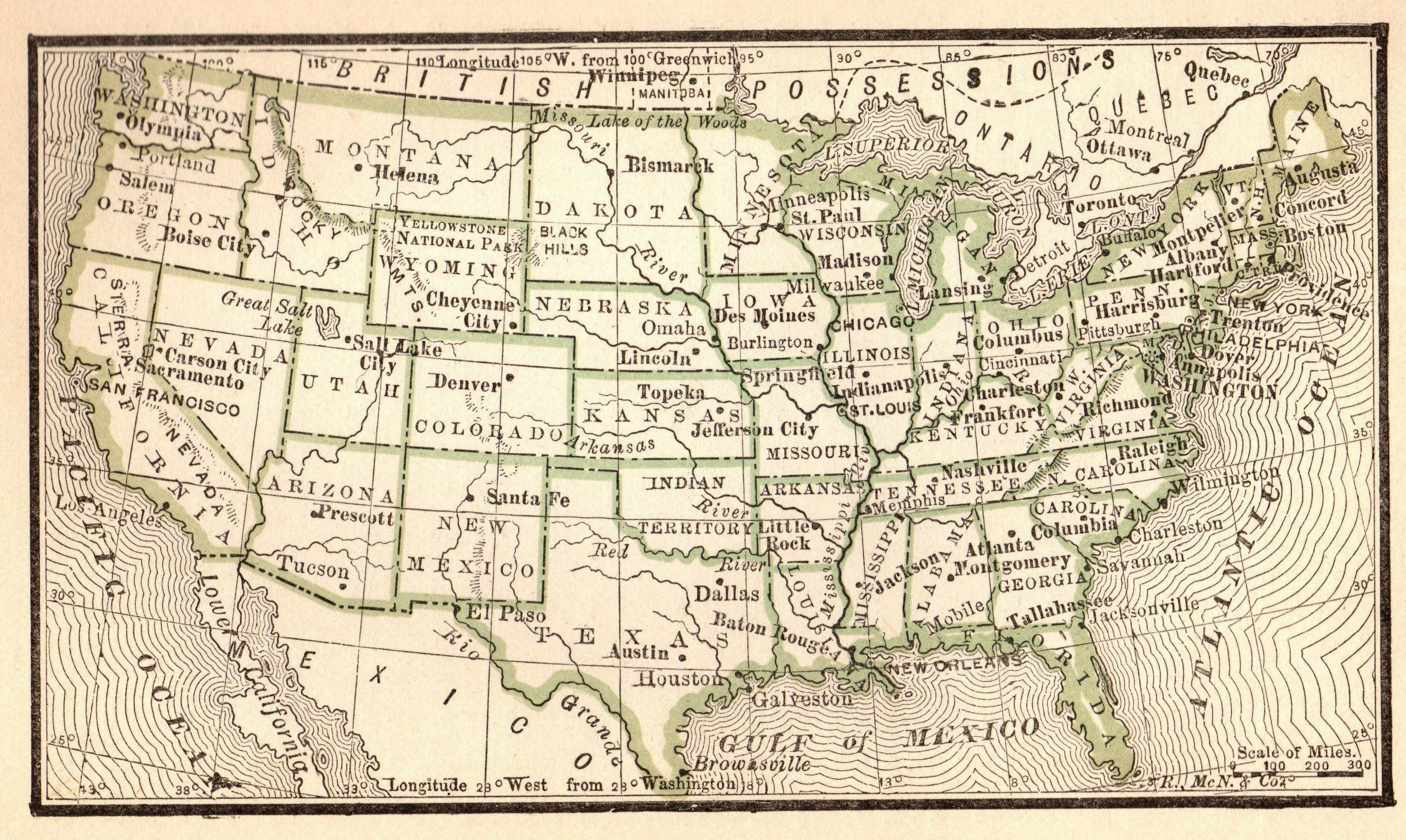 vintage map of united states 1888 Antique UNITED STATES Map Miniature Vintage Usa Map of | Etsy