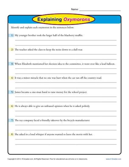 Explaining Oxymorons Pinterest Free Printable Worksheets