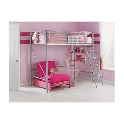 Sit N Sleep Metal High Sleeper Bed Frame Pink Futon