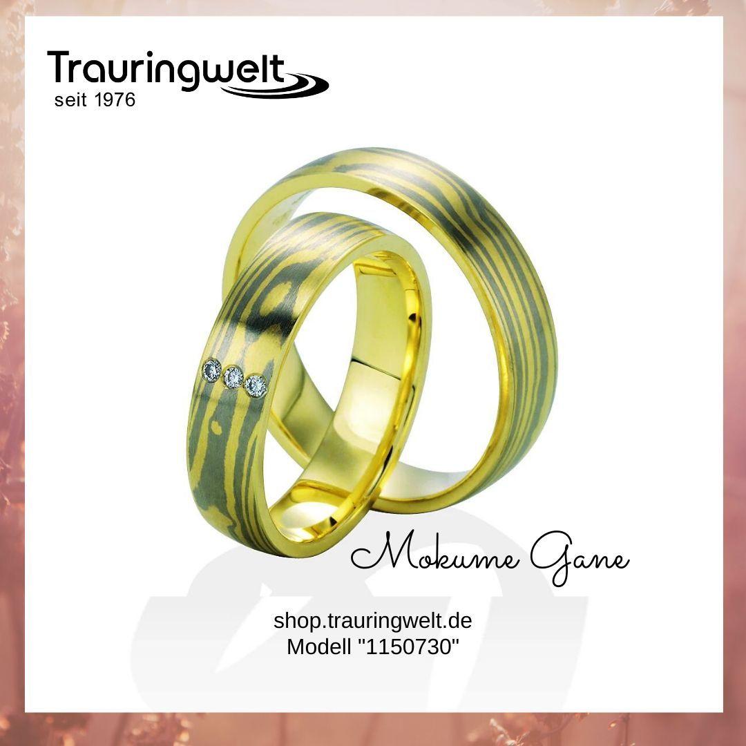 Ausgefallene Und Besondere Eheringe Trauringe Gold Gelbgold Mit Weißgold Mokume Gane Damast Trauringe Damast Ringe