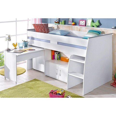 lit plateforme mi haut avec bureau et rangement int gr s 1 personne parisot blanc vue 1 lit. Black Bedroom Furniture Sets. Home Design Ideas