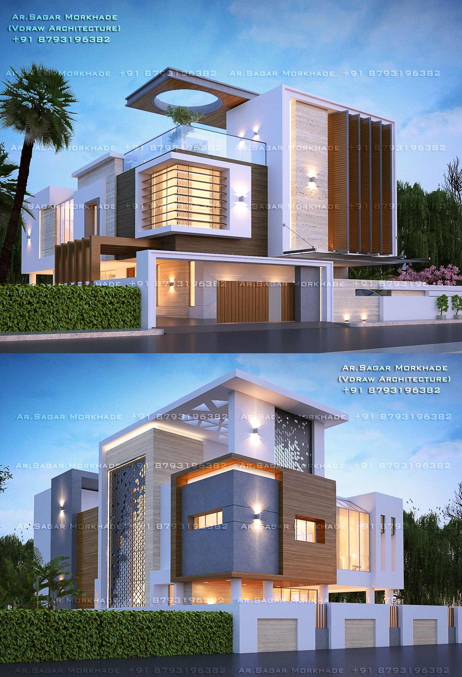 Contemporary Modern Residential House Bungalow Modern Architecture Exterior By Ar Sagar House Front Design Modern House Facades House Architecture Design