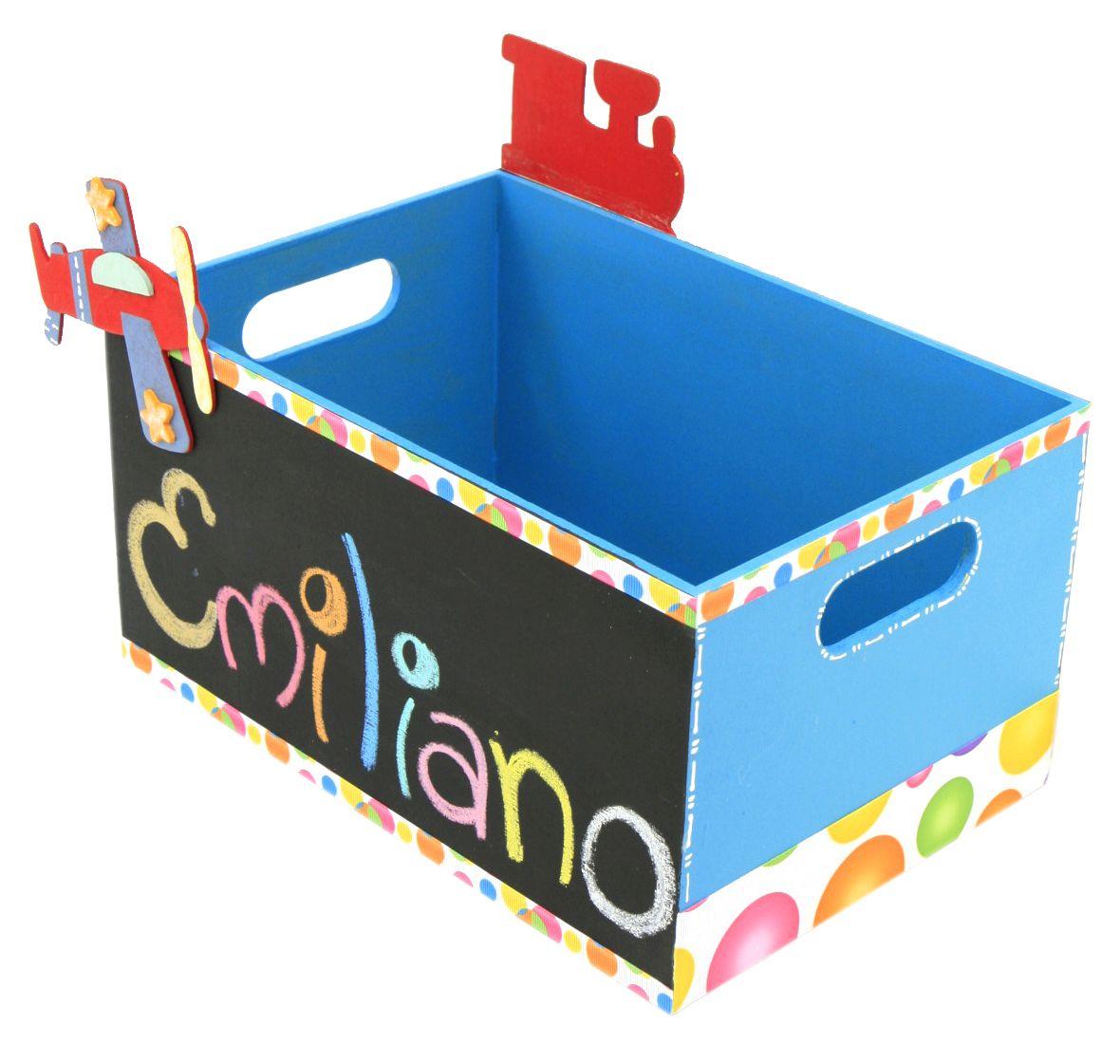 Original caja de madera con pizarr n color azul pintura - Cajas de carton decoradas para bebes ...