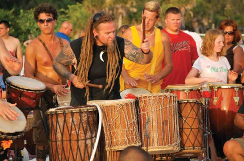 Drum Circle at Siesta Key Beach.... SO FUN!!! I have pictures of Michael dancing at one of these bongo beach parties