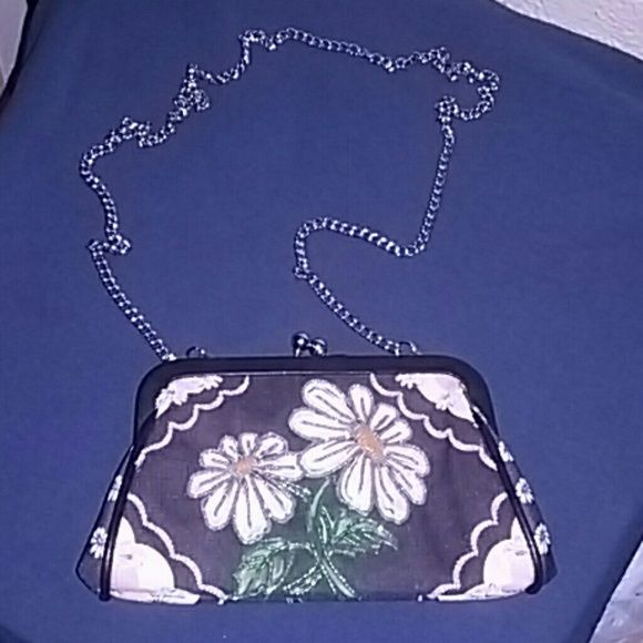Isabella Fiore Cross Body Purse This beautiful floral small purse has front beading outlining the front flowers, pretty polka dot cotton lining with a elastic stretch inner pocket. Purse has stainless steel front snap closure and 40' inch stainless steel chain strap. New, never used, absolutely so beautiful.  No trades firm price Isabella Fiore Bags Crossbody Bags