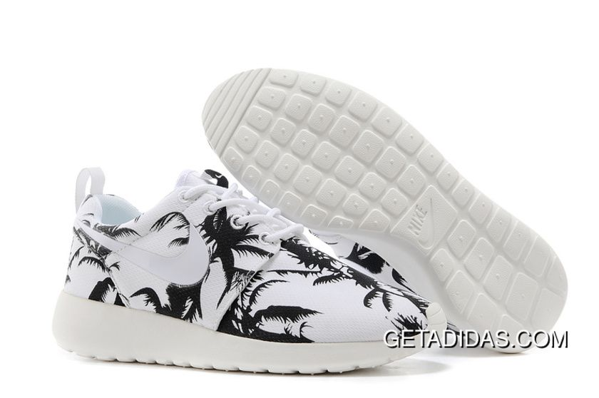 Womens Nike Roshe Run Print palm trees black white shoes
