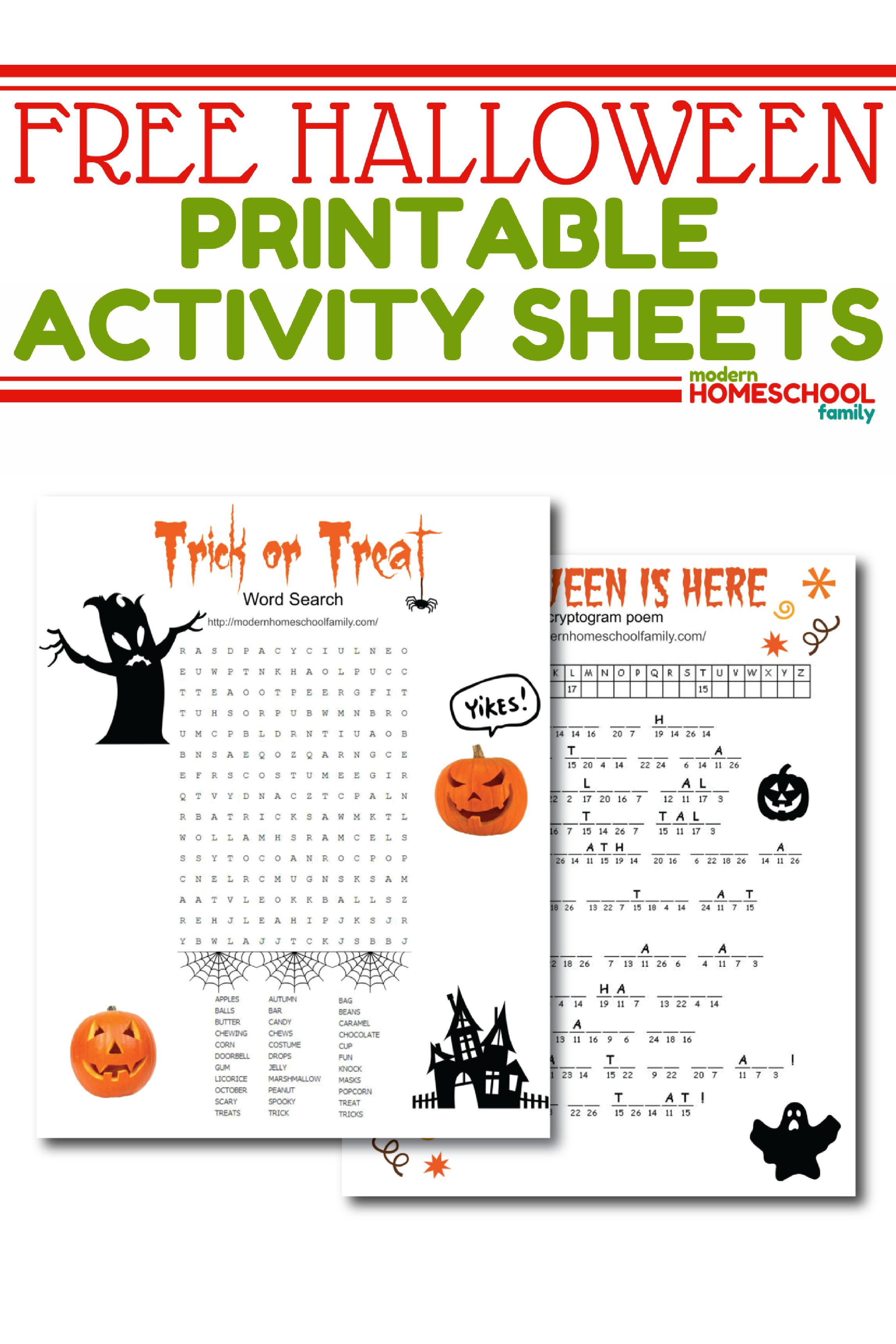 free-halloween-printable-activity-sheets-pinterest | Homeschool ...