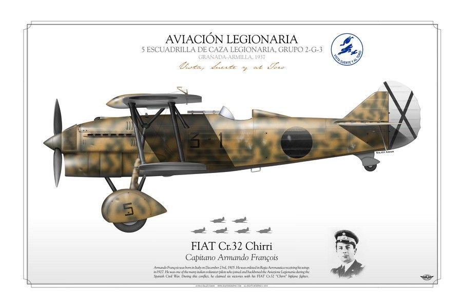 AVIACIÓN LEGIONARIA . SPANISH CIVIL WAR 5 ESCUADRILLA DE CAZA LEGIONARIA, GRUPO 2-G-3 GRANADA-ARMILLA, 1937 Capitano Armando François
