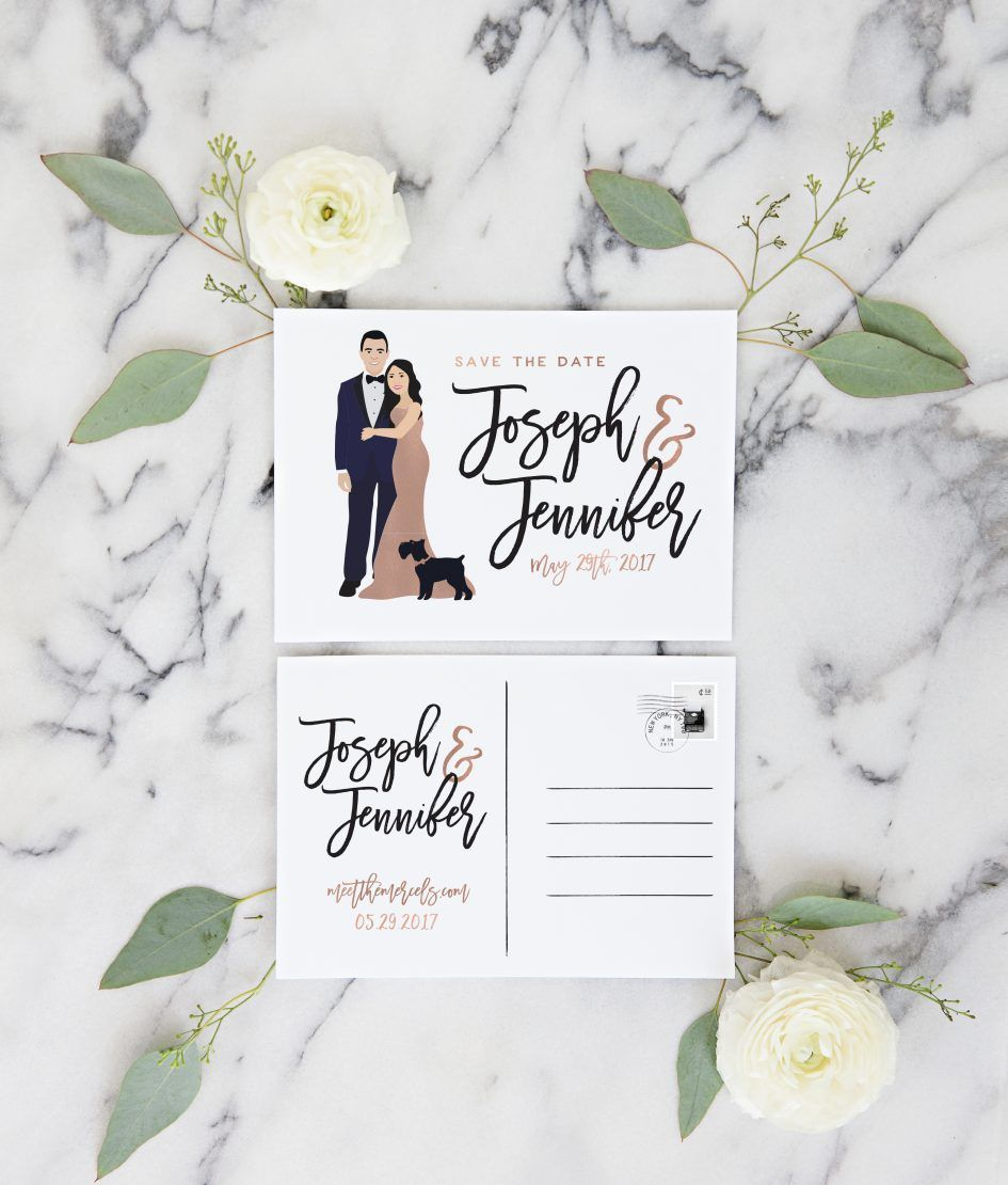 Portrait Save the Date Postcards | Wedding | Pinterest | Rose gold ...