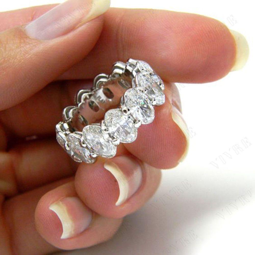 e4fa621504e7dd 5.00 ct Oval Shape Diamond 10k White Gold Full Eternity Wedding Band Ring  #Vivre #WithDiamonds