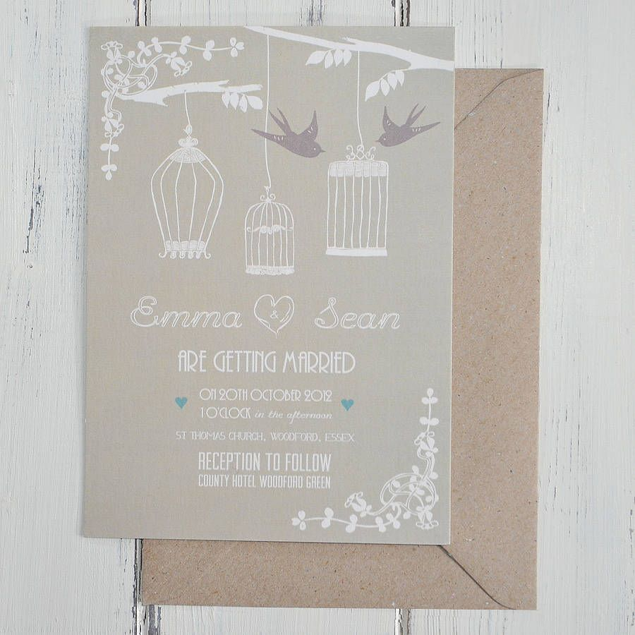 Vintage Birdcage Wedding Invitation Vintage birdcage Wedding and
