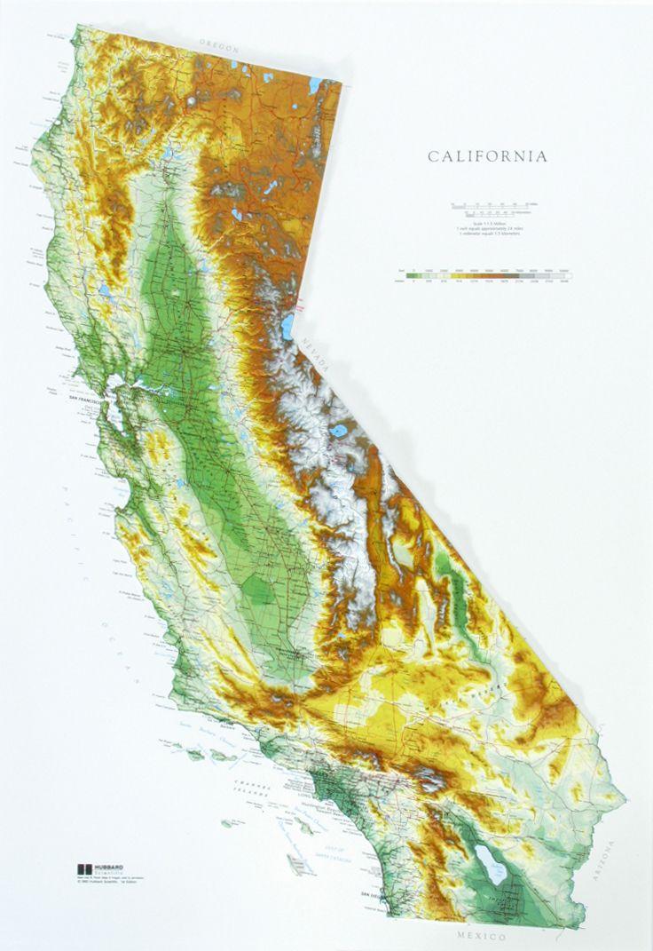 Raised Relief Map of California Relief map