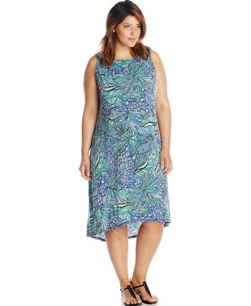 f9eda6736f 7 Cheap Sundresses for Plus Size Girls You Will Love  Casual cheap high low plus  size summer dress in blue print by MSK (Shop style HERE)