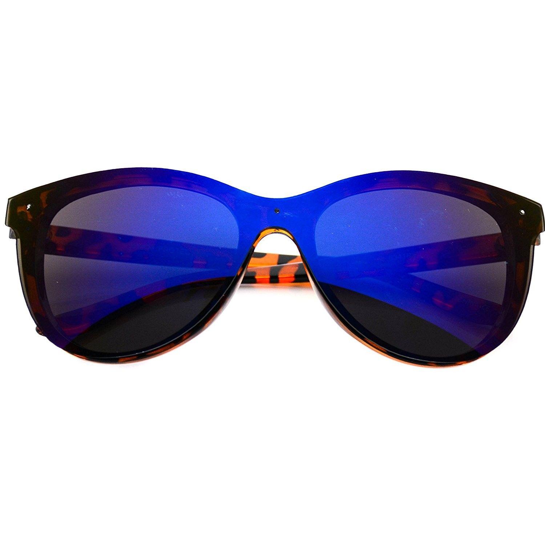 Retro Inspired High Pointed Mirrored Lens Cateye Sunglasses Tortoise Frame Blue Lens Cu123zroxof Mirrored Lens Cat Eye Sunglasses Blue Lenses