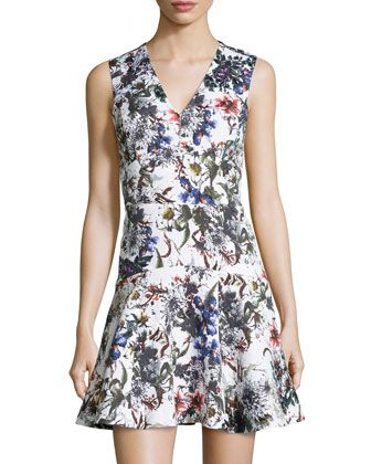 Sleeveless Garden-Print Matelasse Fit-and-Flare Dress, White/Multicolor by Rebecca Taylor at Neiman Marcus Last Call.