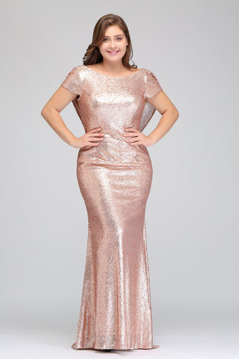 Rose Gold Short Sleeves Plus Size Bridesmaid Dresses,Sequin ...