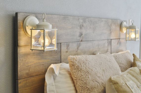 Wood headboard with white built in by knotsandbiscuits on for Diy wooden headboard with lights