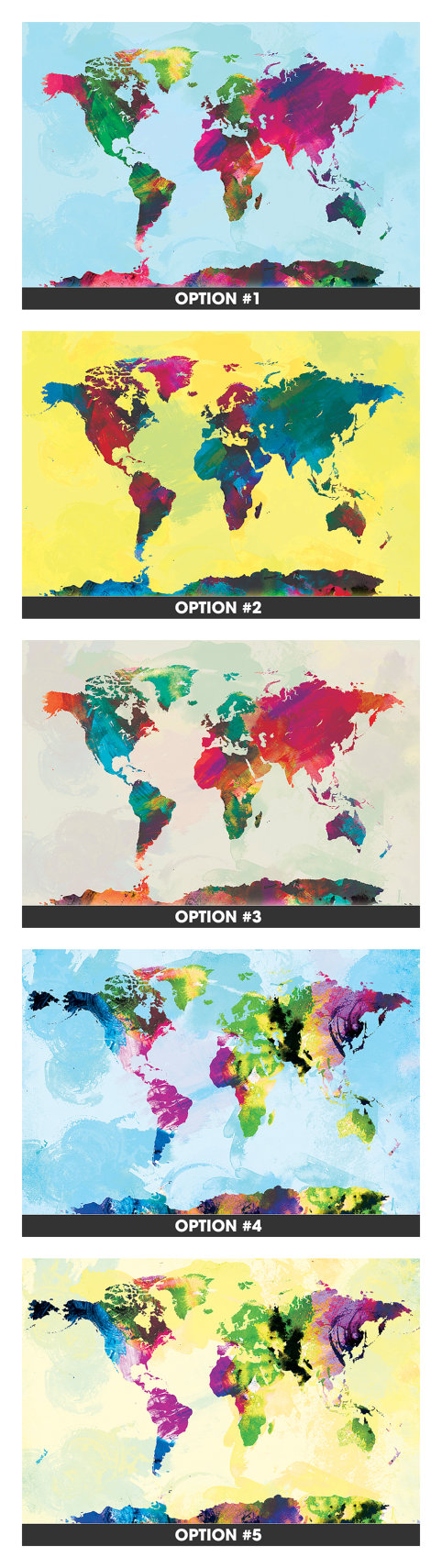 Watercolor world map mounted canvas wall art multiple color watercolor world map 12x18 canvas print by sunnychampagne on etsy gumiabroncs Gallery