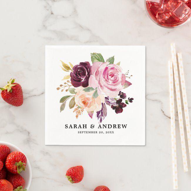 Plum Purple Blush Pink Botanical Floral Wedding Napkins #Ad , #AD, #Botanical#Pink#Wedding#Floral