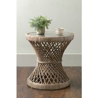 East At Main S Shively Brown Round Transitional Rattan Accent Table Accent Table Glass End Tables Rattan