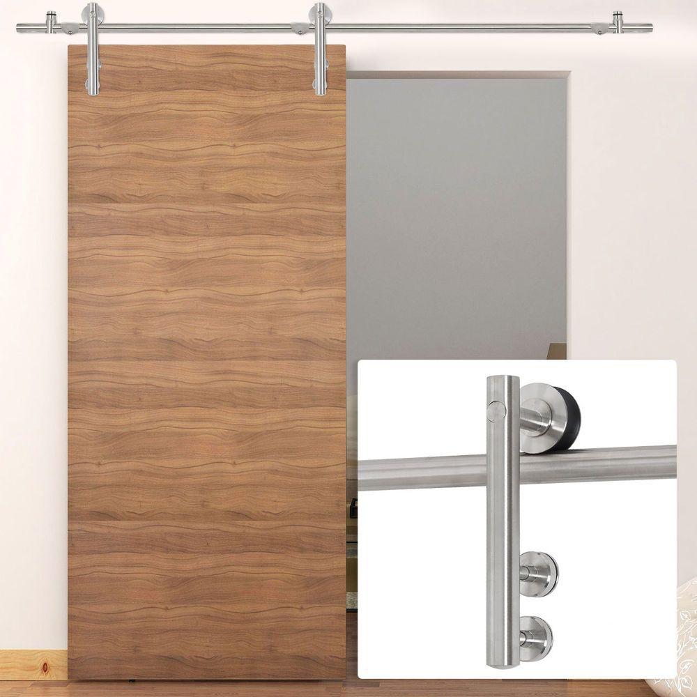 Stainless Steel Modern Sliding Barn Wood Door Hardware Track Set 6.6FT for Single Door