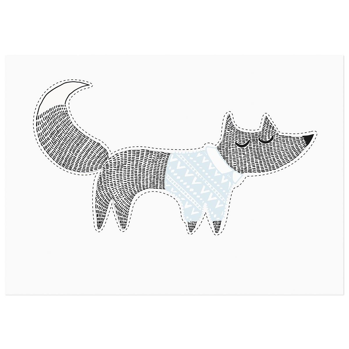 Fuchs-Wandsticker von Bloomingville   Animal Illustration ...