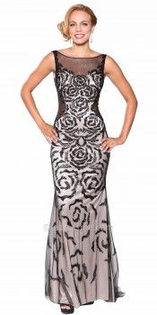 Beaded Rosette Mesh Cut-Out Evening Dresses by Atria